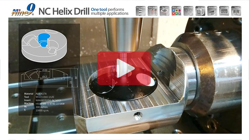 Drilling Inclined Hole and Step Hole on Rounded surfaces with Aluminum by One NC Helix Drill