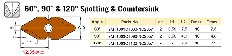 60 90 and 120 deg spotting and countersink