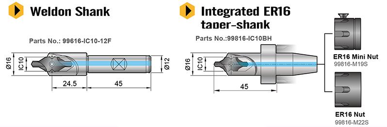 Holder for IC 10 carbide insert