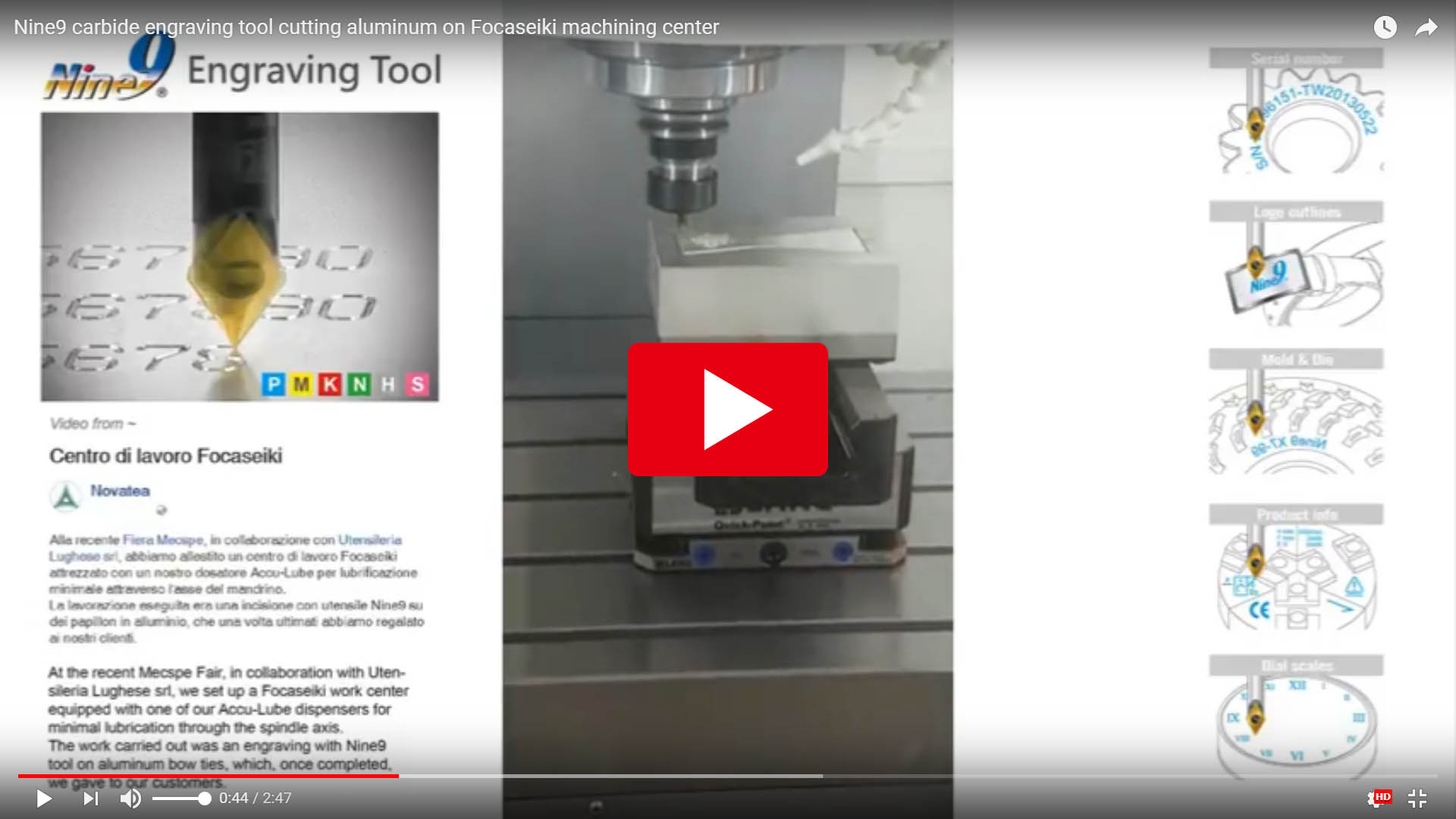 Nine9 carbide engraving tool cutting aluminum on Focaseiki machining center