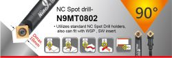 "90 Degree NC Spot Drill - spotting dia 2~10mm, 10mm, 3/8"", M5 and M6 dia shank"