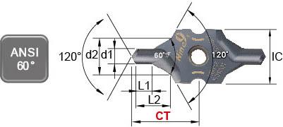 ANSI 60 Degree type center drill carbide insert