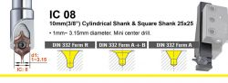 1mm to 3.15mm dia.- DIN332 Form R, Form A+B and Form A indexable centre drill