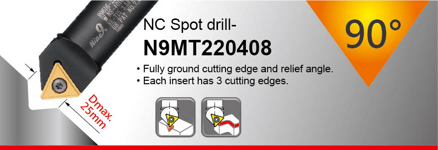 90° Angle Spot Drill and Chamfer Tool - spotting dia 4~25mm, dia 25mm shank